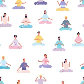 Persone che meditano seamless pattern.