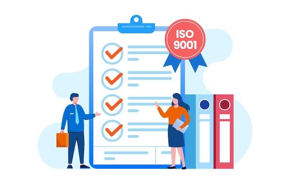 Persone che incontrano il controllo di qualità. certificato iso 9001. gestione della qualità. modello di vettore piatto