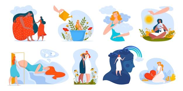 Illustrazione di salute mentale di persone, personaggi dei cartoni animati donna che abbraccia, aiutando nei problemi, psicoterapia emotiva di assistenza sanitaria