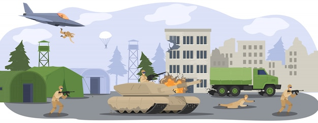 La gente nella base del campo militare, i soldati in uniforme mimetica in guerra con la pistola, il carro armato militare e l'illustrazione del fumetto dell'aeroplano.