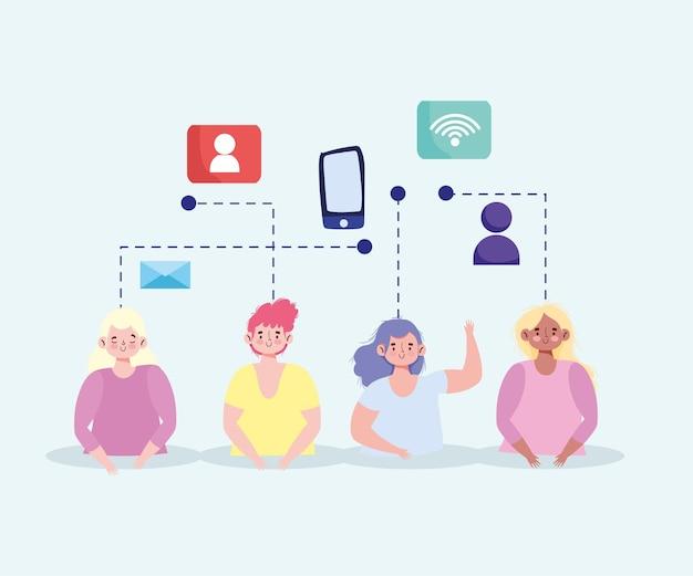 Persone tecnologia mobile