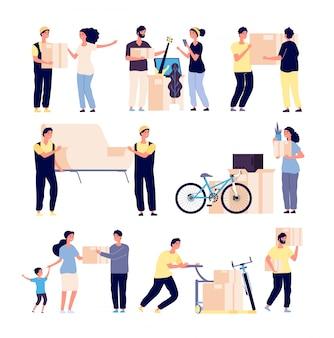Persone che cambiano casa. la famiglia si trasferisce in una nuova casa con caricatori, raccoglie rifornimenti in scatole. set di caratteri vettoriali isolati