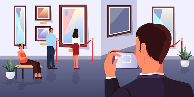 Persone nel museo. interno della galleria d'arte. foto sul muro, famosa mostra. vecchio capolavoro. illustrazione
