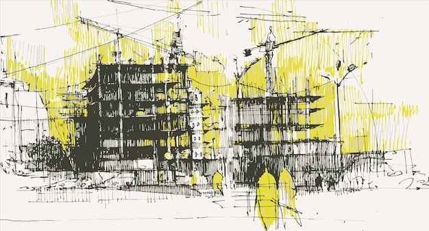 Persone vicino al cantiere disegnato a mano.