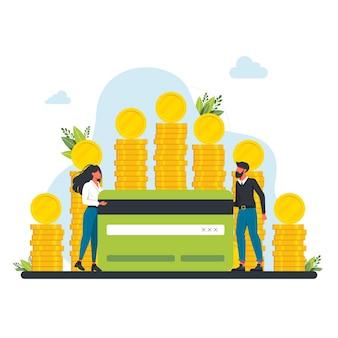 Le persone vicino a una grande pila di monete sono in possesso di una carta di credito bancaria. personaggi di successo felici con un mucchio di monete. benessere finanziario. investimento aziendale e risparmio di denaro. commissioni e concetto di finanziamento