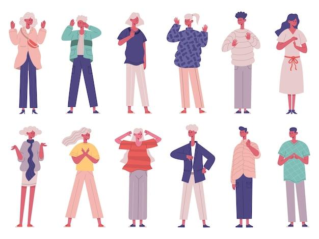 Le persone gesti di rifiuto negativo corpo comunicazione non verbale. set di illustrazioni vettoriali per i caratteri di conversazione del linguaggio del corpo negativo. non sono d'accordo sui gesti delle persone negative