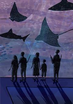 Persone in oceanarium. coppie, persone con bambini che guardano pesci, squali, animali marini. illustrazione colorata disegnata a mano