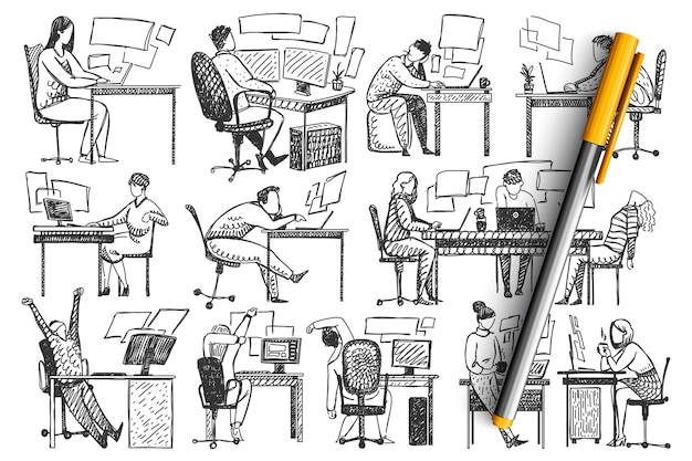 Persone in ufficio doodle insieme.