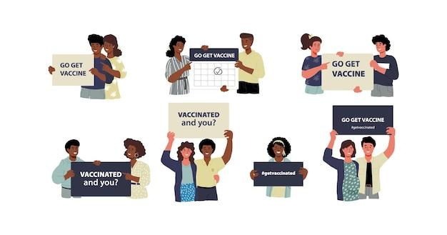 Persone una per una che tengono in mano cartelli striscioni poster che chiedono la vaccinazione di diversi tipi di pelle