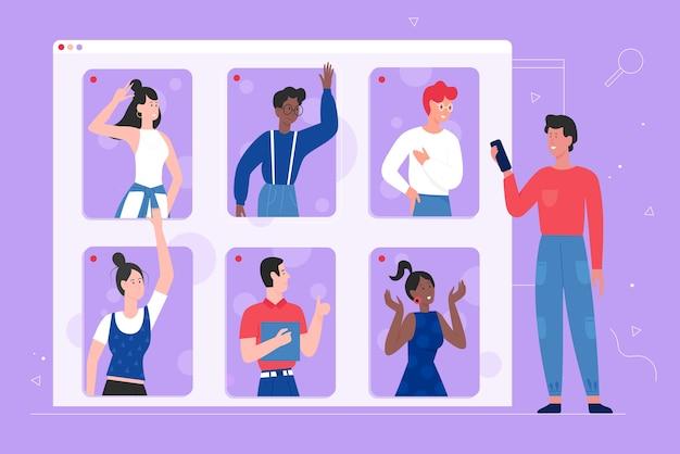 Comunicazione online delle persone, utilizzando l'app di chat per videochiamate mobili zoom, riunioni internet