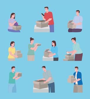 Persone che aprono scatole