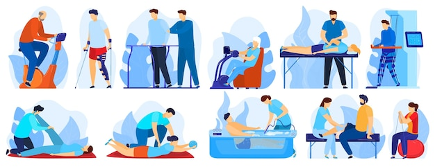 Persone in terapia ortopedica riabilitazione illustrazione vettoriale set. personaggio dei cartoni animati piatto terapista che lavora con il paziente disabile