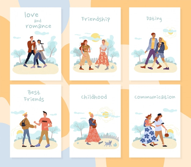 Set di carte ricreative di attività all'aperto di persone