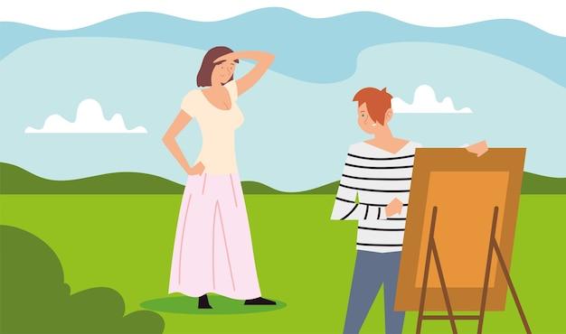 Persone attività all'aperto, donna in piedi in posa e illustrazione immagine pittura uomo