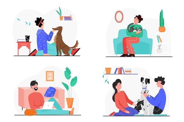 Il proprietario della gente ama e cura i propri animali domestici illustrazione set.