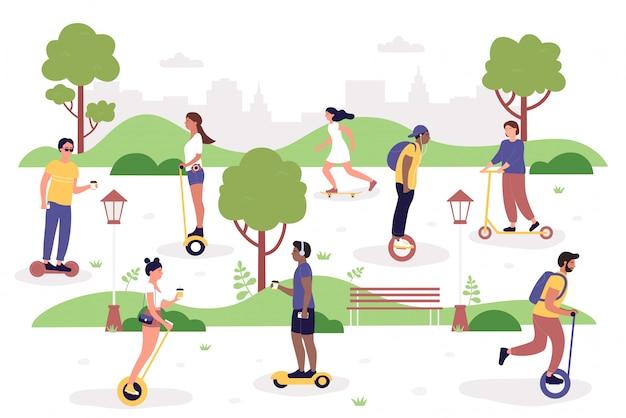 Persone nell'illustrazione del parco. pantaloni a vita bassa piani dell'uomo della donna del fumetto che guidano segway elettrico moderno, giroscopio del motorino di scossa o hoverboard con la tazza di caffè, attività all'aperto di sport sano isolata su bianco