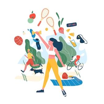 Persone che svolgono attività sportive o esercizio fisico e cibo sano