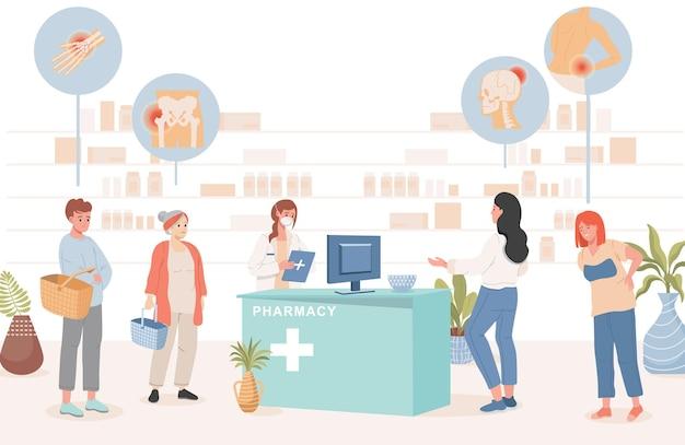 Persone in farmacia che acquistano pillole dall'illustrazione di malattie Vettore Premium