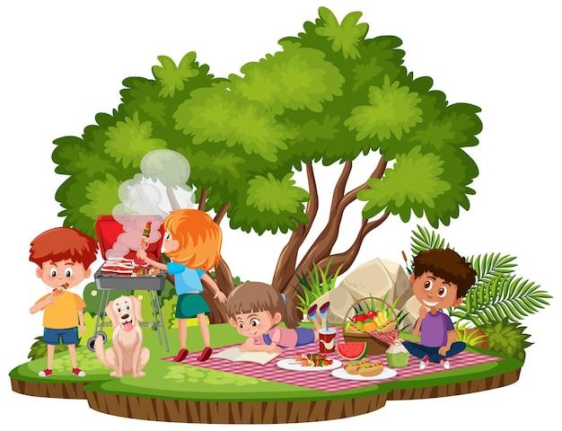 Persone picnic al parco isolato