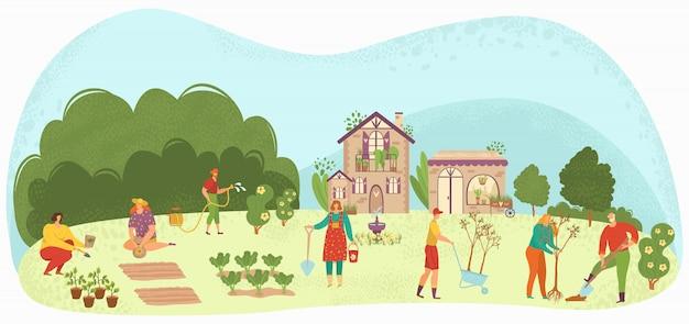 La gente che pianta le piante da giardino e l'agricoltura che coltiva l'illustrazione, i giardinieri si preoccupano per gli alberi da frutto, le verdure e le aiuole.