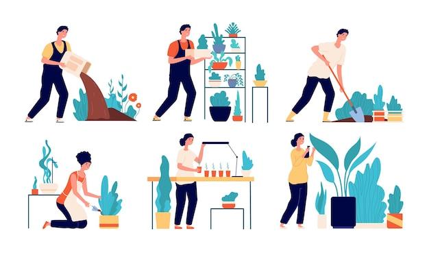 Persone che piantano. donna che lavora a terra. raccolta dei cartoni animati, hobby di giardinaggio di persona