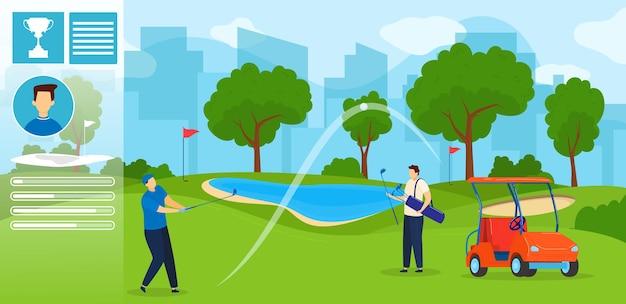 Le persone giocano a golf illustrazione.