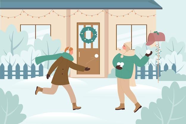 Le persone giocano a palle di neve combattono il gioco, illustrazione di attività all'aperto di vacanze di natale.