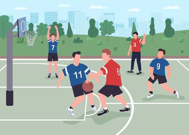 Persone che giocano a basket in strada piatta. ragazzi che si divertono a trascorrere il loro tempo libero all'aperto. giocatori di basket personaggi dei cartoni animati 2d con parco cittadino