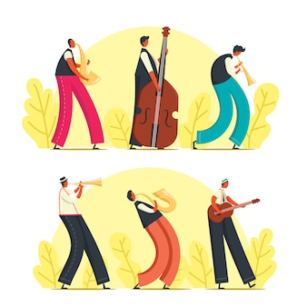 Persone che suonano jazz illustrazione
