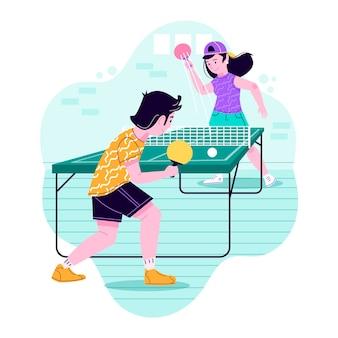 Persone che giocano a ping pong illustrazione