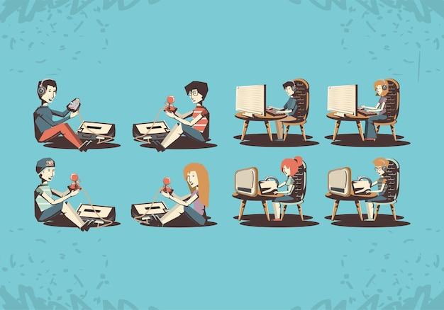 La gente che gioca la retro progettazione dell'illustrazione di vettore del video gioco