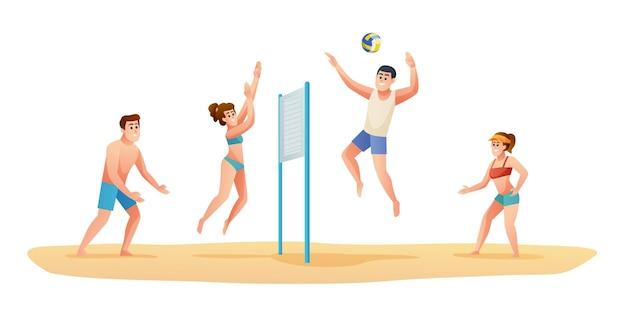 Persone che giocano a pallavolo sulla spiaggia illustrazione