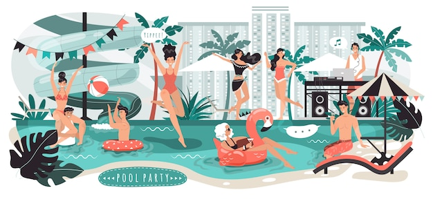La gente alla festa in piscina in città, giovani uomini e donne che si divertono, illustrazione