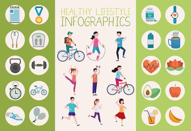Persone che praticano esercizio fisico e elementi di stile di vita sano insieme illustrazione