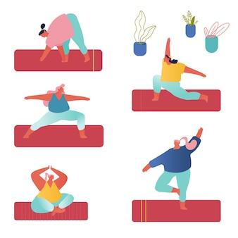 Persone che praticano yoga set. yogi gruppo di donne facendo esercizi di yoga su stuoie in studio.
