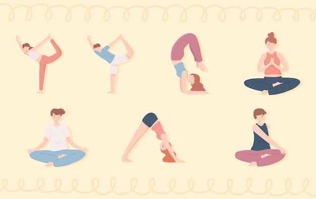 Persone che praticano yoga