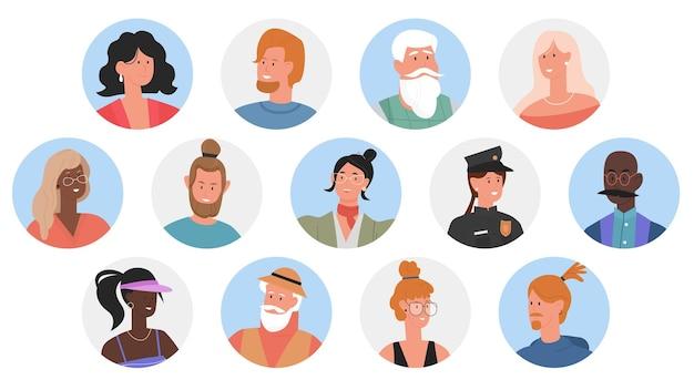 Persone profilo avatar di diverse professioni uomo donna ritratti di lavoratori professionisti Vettore Premium