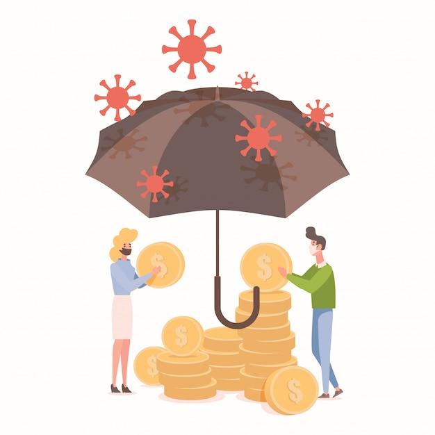 La gente protegge i risparmi dall'illustrazione piatta dell'epidemia di coronavirus. la donna e l'uomo tengono le monete nelle mani.