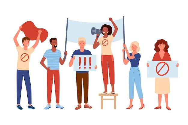 La gente protesta, attivismo i personaggi attivisti dei cartoni animati uomo donna dimostrano, prendono parte alla dimostrazione di protesta, stanno insieme e tengono bandiera e poster, isolati su bianco.