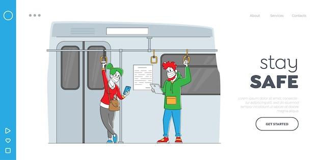 Persone nel trasporto pubblico durante il modello di pagina di destinazione del coronavirus