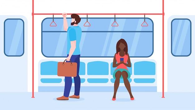 La gente nell'illustrazione piana di trasporto pubblico. treno della metropolitana, personaggi dei cartoni animati di autobus passeggeri. uomo con valigetta con corrimano. giovane donna con smartphone. il viaggio in città significa concetto