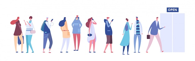 Persone in coda. uomini e donne in abiti casual, persone in fila fuori dalla porta del negozio aperto. concetto di vettore