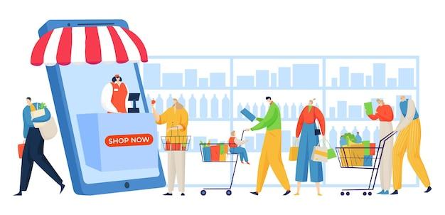 Le persone fanno la fila nel negozio online