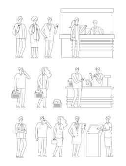 Le persone fanno la fila. linee di attesa uomo donna. caratteri di linea isolati su scatole di contanti. persona in drogheria, stazione e banca