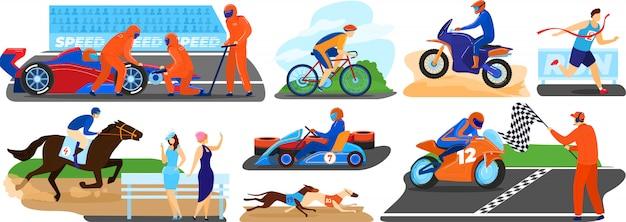 Set di illustrazione di corse di persone, personaggio dei cartoni animati sportivi in esecuzione in bicicletta, finendo prima nella gara sportiva, guida auto