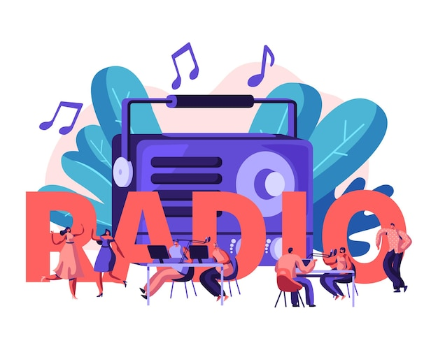 Persone e concetto di radio. cartoon illustrazione piatta
