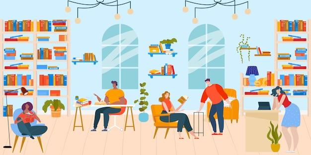 La gente legge i libri nell'illustrazione piana di vettore della biblioteca. caratteri del lettore di booklover felice del fumetto che si siedono ai tavoli e nelle sedie