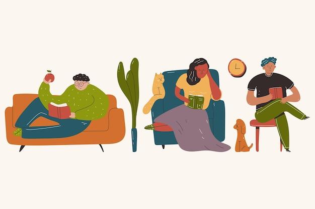 Persone che leggono libri sul divano, poltrona e sedia fumetto illustrazione isolato su uno sfondo bianco.
