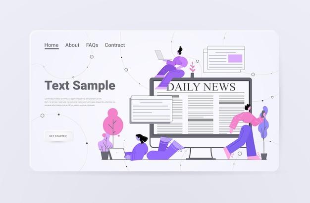 Persone che leggono le notizie quotidiane sulla pagina di destinazione del giornale dei gadget digitali