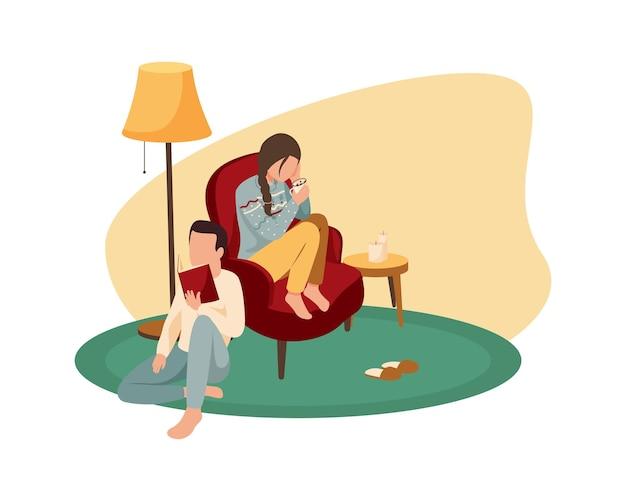 Persone che leggono e bevono cacao con marshmellow in casa accogliente nell'illustrazione piana di inverno